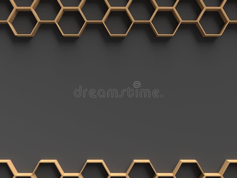 Modèle en bois d'hexagone avec le calibre foncé de fond pour la présentation illustration de vecteur