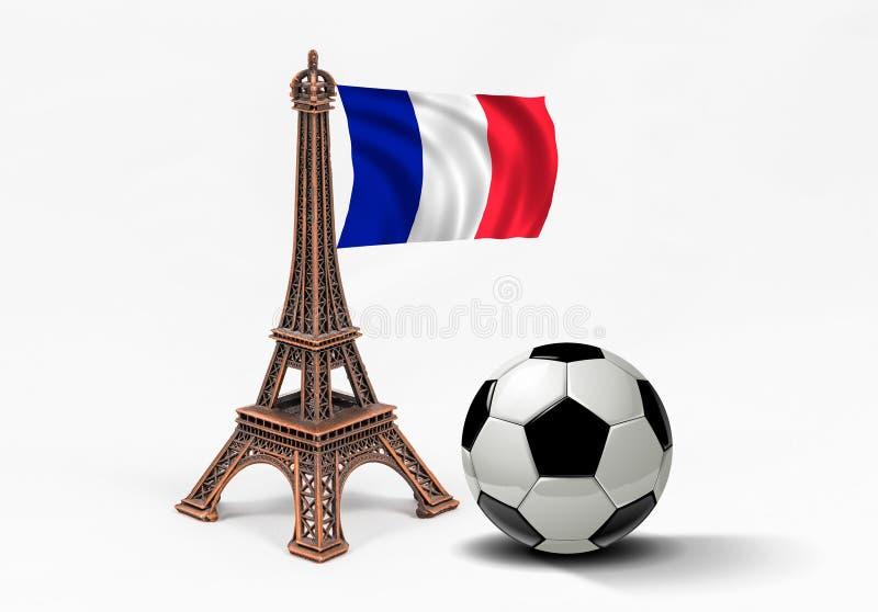 Modèle en bronze de Tour Eiffel avec le drapeau et le ballon de football français image libre de droits