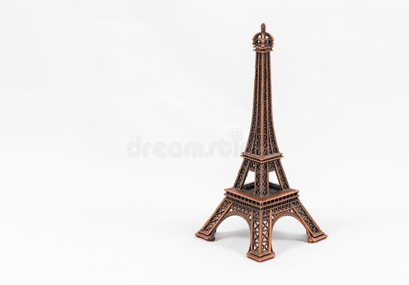 Modèle en bronze de Tour Eiffel, d'isolement sur le fond blanc images stock