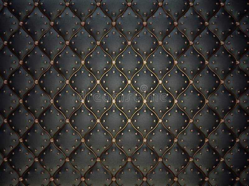 Modèle en cuir noir avec le fil et les gemmes d'or photos stock