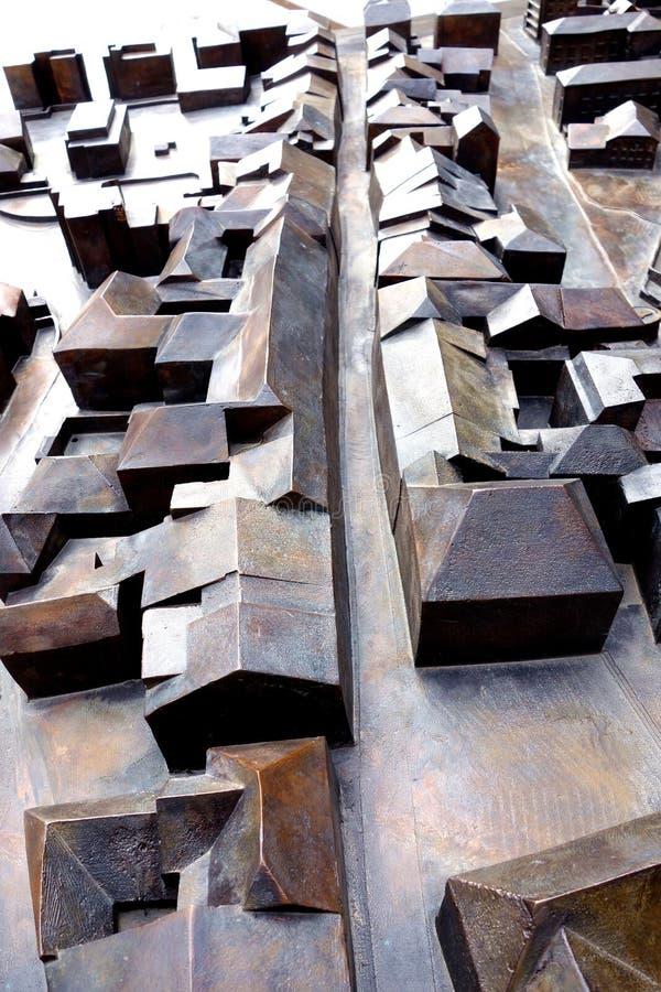 Modèle en métal de vue aérienne de route de village photo libre de droits