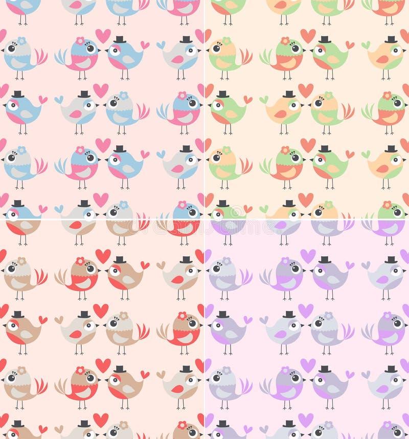 Modèle en pastel sans couture avec 2 oiseaux mignons d'amour illustration stock