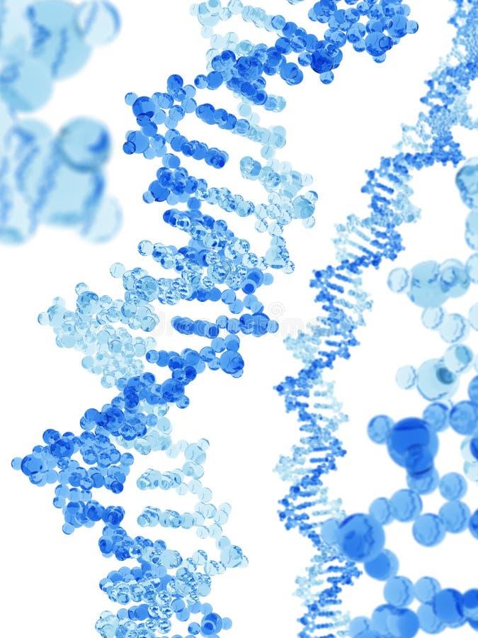 Modèle en verre bleu de macromolécule d'ADN illustration stock