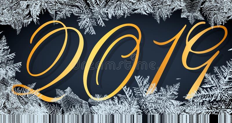 Modèle en verre de Frost Cadre d'hiver sur le fond transparent Illustration de Noël de vecteur 2019 cadres neigeux blancs pour illustration libre de droits