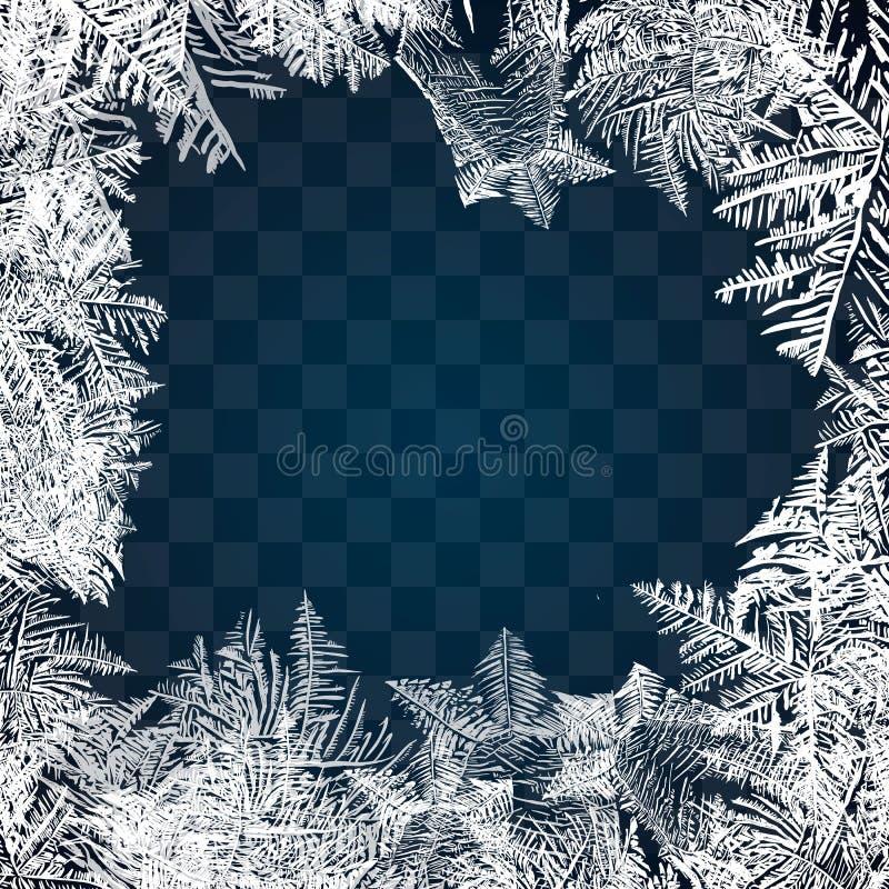 Modèle en verre de Frost Cadre d'hiver sur le fond transparent Illustration de Noël de vecteur Ornement congelé de fenêtre Cadre  illustration stock