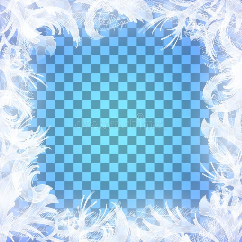 Modèle en verre de gel de vecteur Cadre d'hiver sur le fond transparent illustration stock