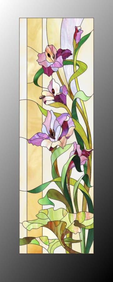 Modèle en verre souillé avec des gladioli illustration stock