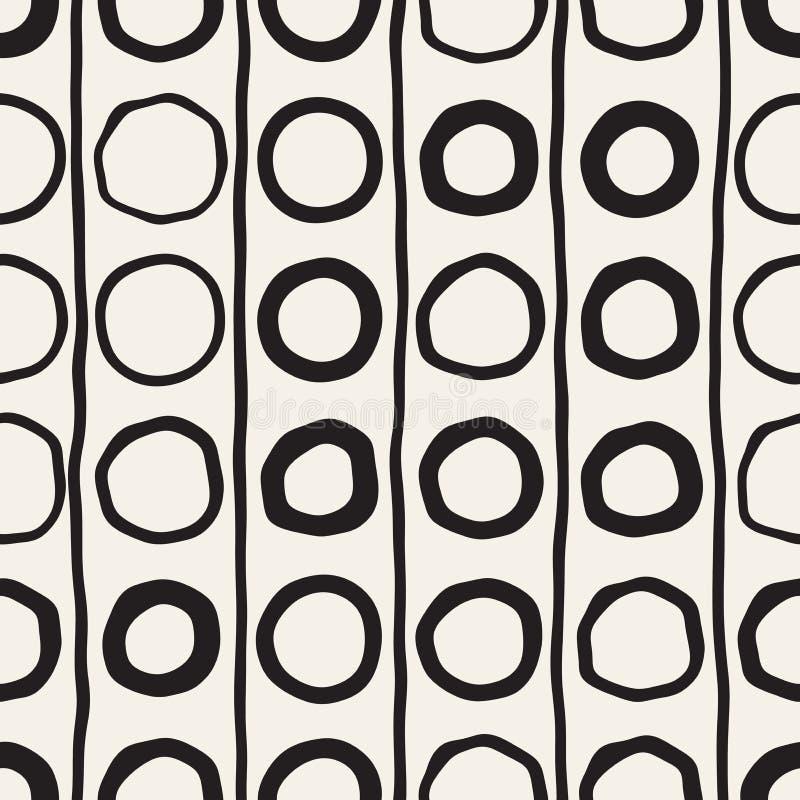 Modèle enfantin sans couture de vecteur Fond abstrait avec des lignes de brosse Texture géométrique tirée par la main de formes illustration stock