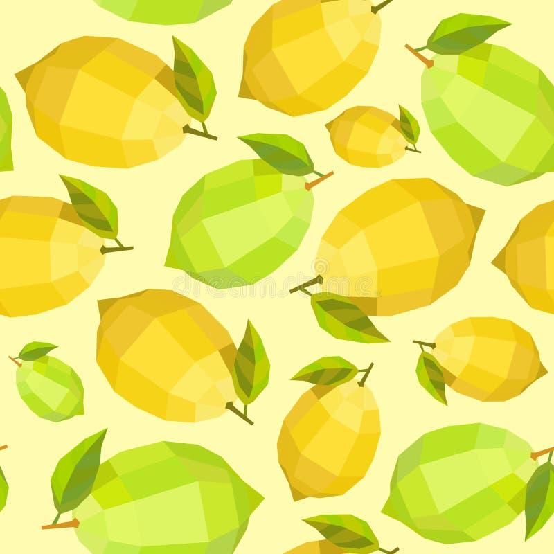 Modèle ensoleillé de chaux de citron de polygone sans couture de vintage illustration libre de droits