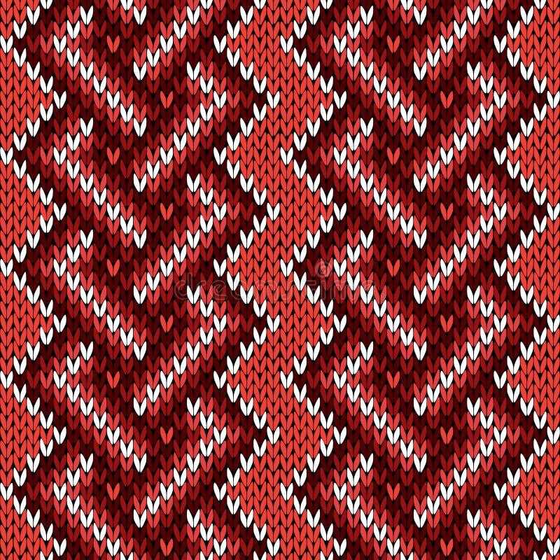 Modèle entrelacé tricoté sans couture dans des tonalités chaudes illustration de vecteur