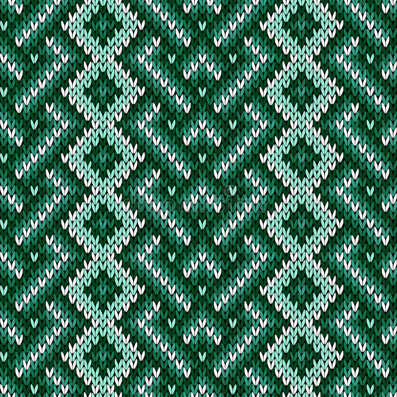 Modèle entrelacé tricoté sans couture dans des tonalités vertes illustration de vecteur