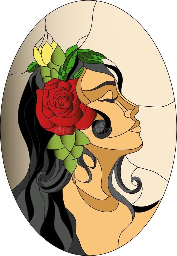 Modèle espagnol en verre souillé de visage de fille illustration stock