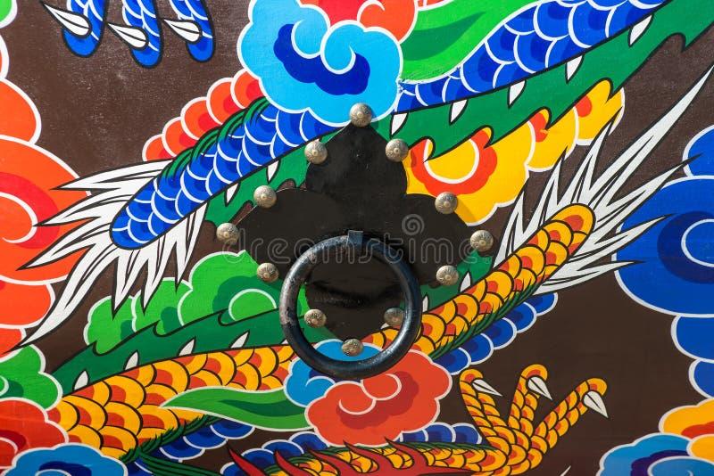 Modèle et bouton traditionnels de tambour en Corée du Sud photo stock