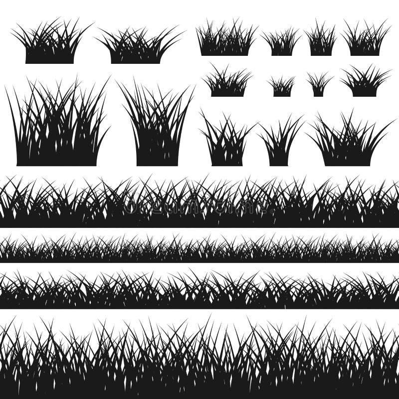 Modèle et buissons sans couture de silhouette d'herbe illustration libre de droits