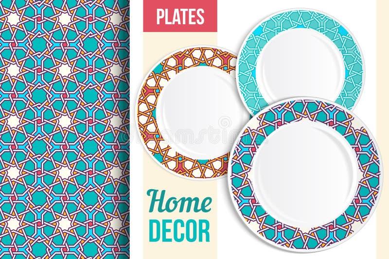 Modèle et ensemble de plats décoratifs illustration de vecteur