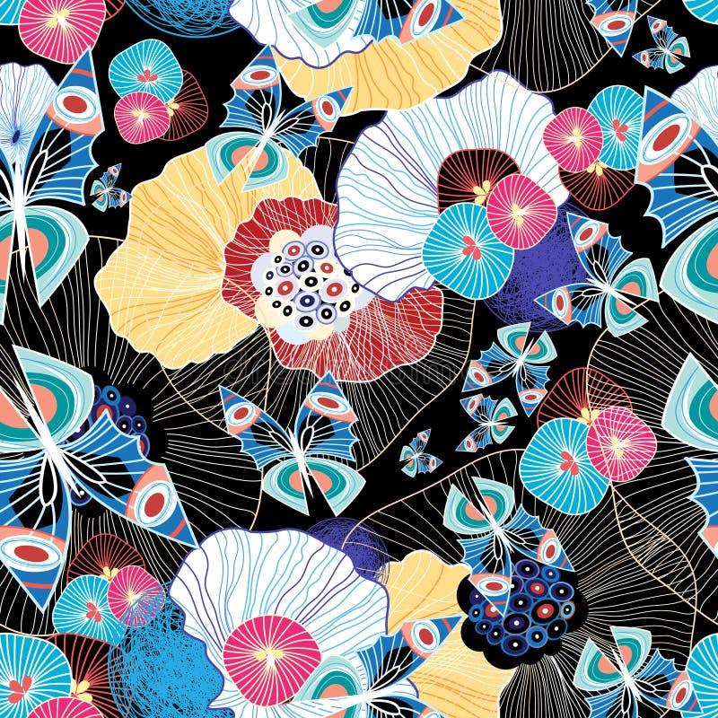 Modèle et papillons abstraits colorés illustration stock