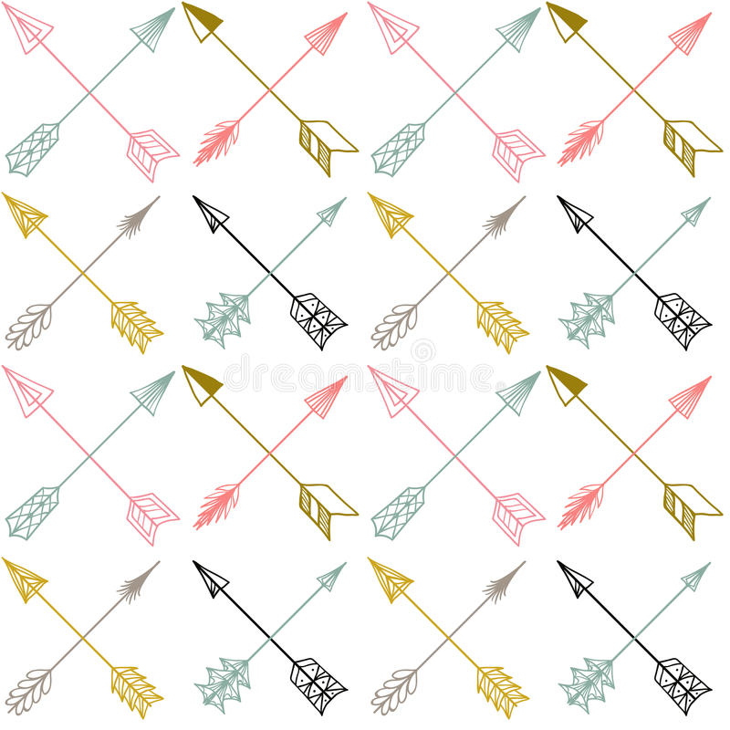 Modèle ethnique coloré sans couture de vecteur avec des flèches illustration libre de droits