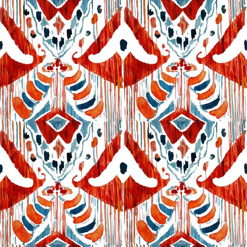 Modèle ethnique de Bohème sans couture d'Ikat dans le style pour aquarelle illustration de vecteur