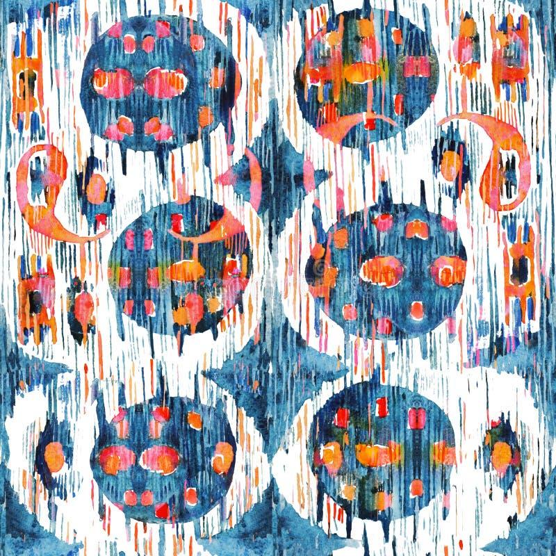 Modèle ethnique de Bohème sans couture d'Ikat dans le style pour aquarelle Ornements d'oriental d'aquarelle illustration de vecteur