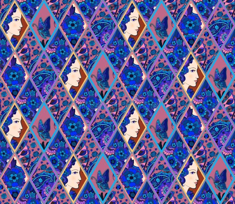 Modèle ethnique de patchwork des losanges ornementaux avec le portrait, les fleurs, le papillon et Paisley femelles illustration libre de droits