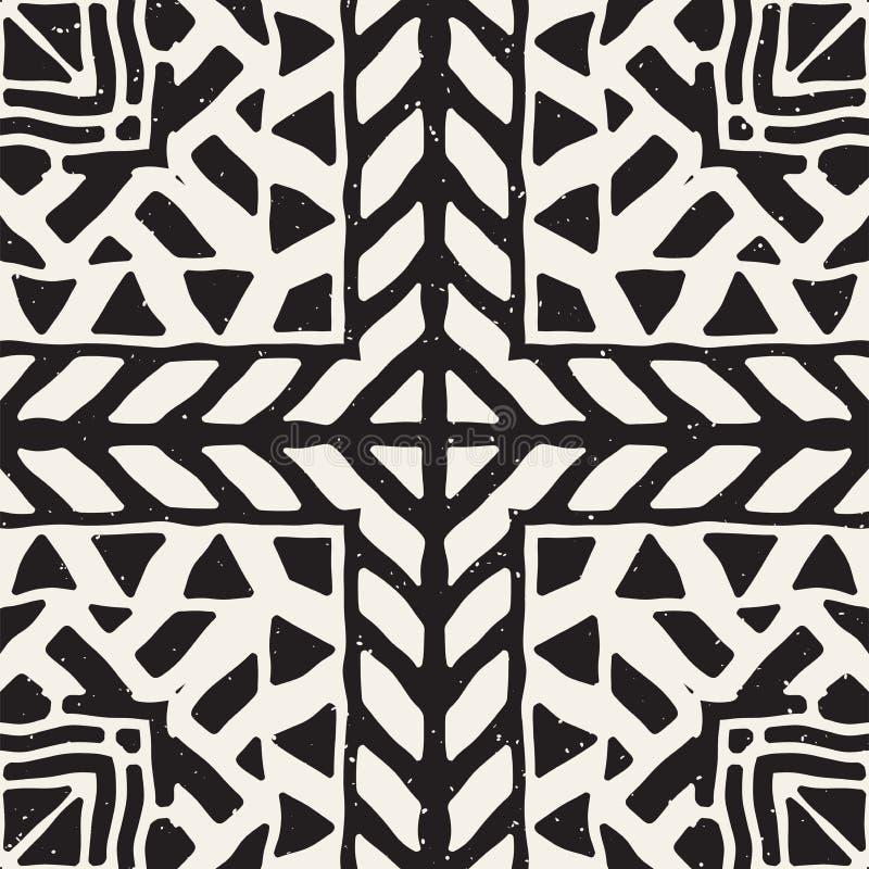 Modèle ethnique et tribal sans couture Rayures ornementales tirées par la main Copie noire et blanche pour vos textiles Fond de v illustration stock