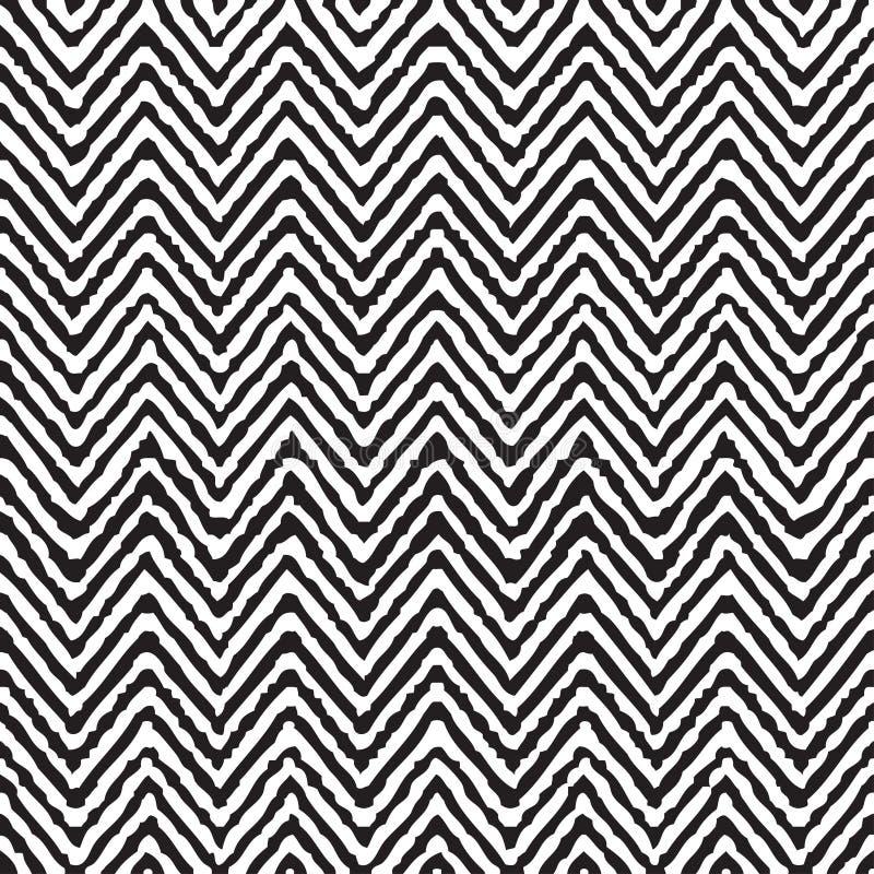 Modèle ethnique géométrique de zigzag de dessin de main sans couture illustration stock