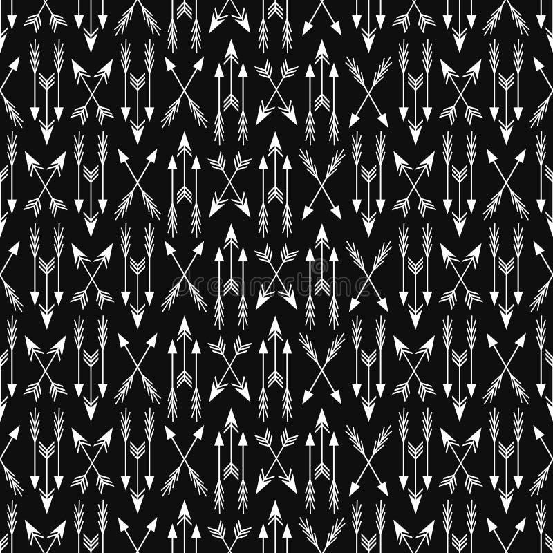 Modèle ethnique monochrome sans couture de vecteur avec des flèches illustration de vecteur