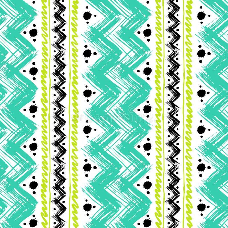 Modèle ethnique peint avec des traçages de zigzag illustration de vecteur
