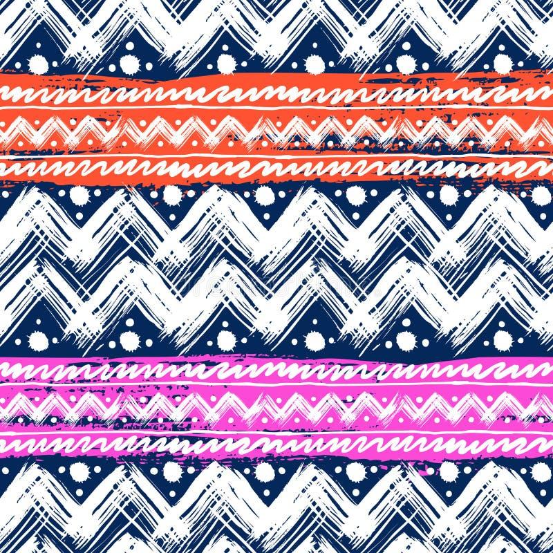 Modèle ethnique peint avec des traçages de zigzag illustration stock