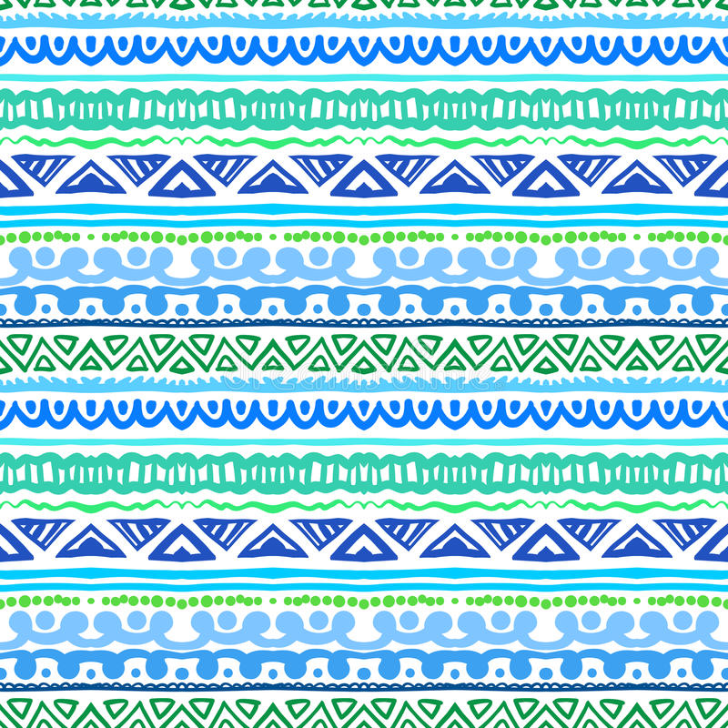 Modèle ethnique rayé dans bleu et vert vibrants illustration de vecteur
