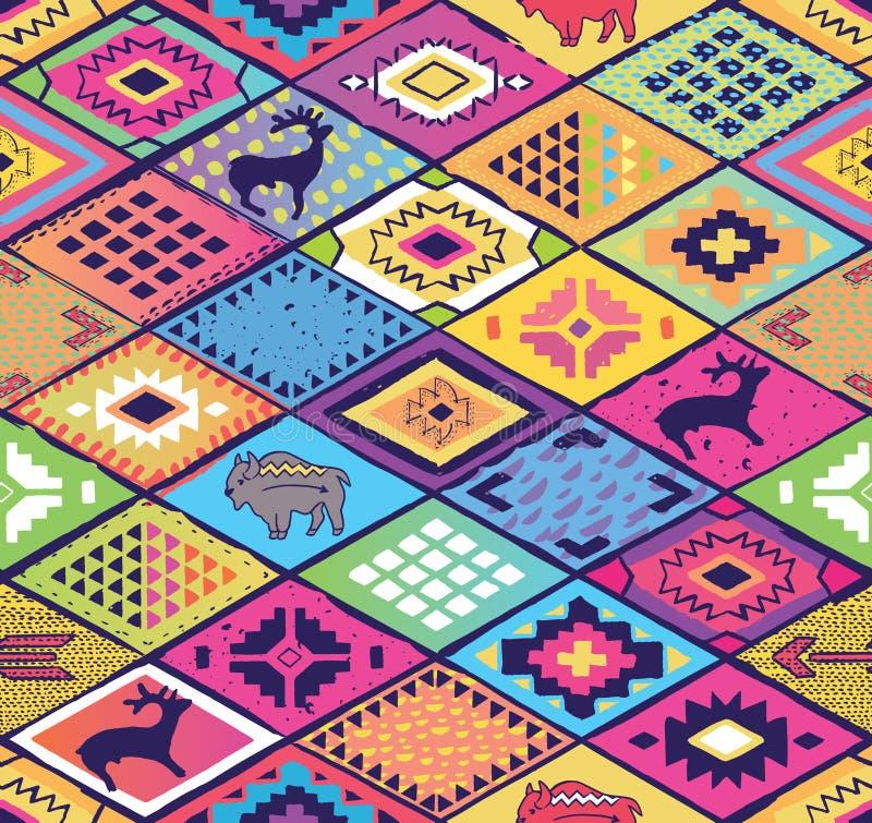 Modèle ethnique sans couture avec des losanges, des flèches et des éléments d'animaux Art géométrique abstrait de fantaisie aztèq illustration stock