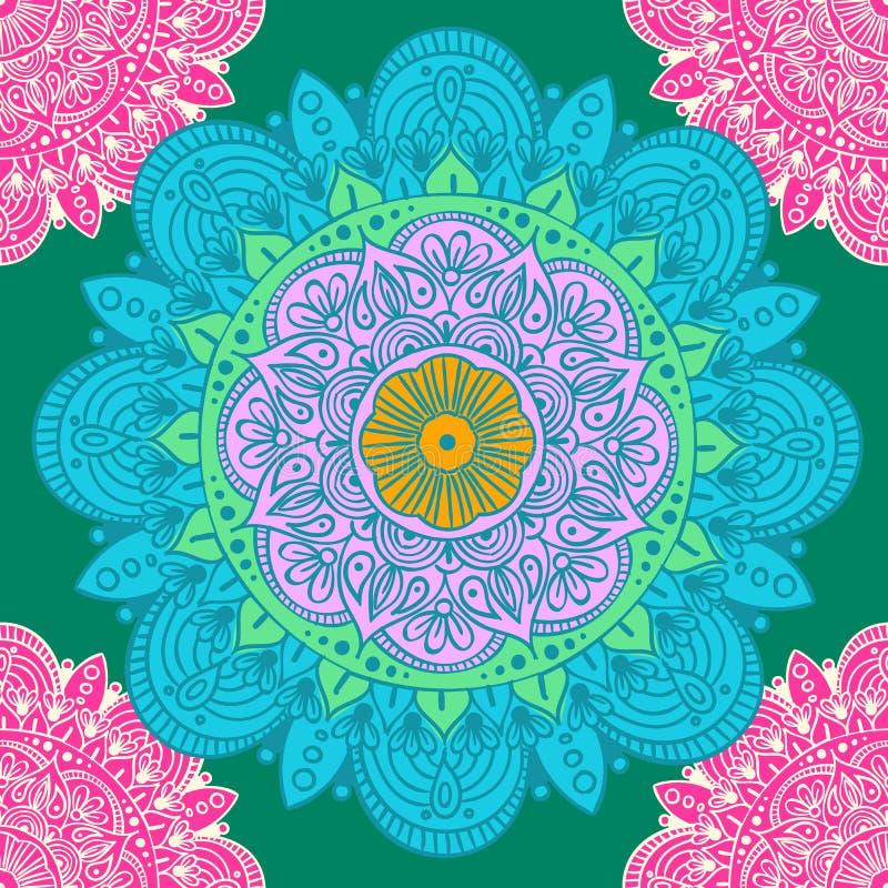 Modèle ethnique sans couture avec des motifs floraux Le mandala a stylisé le calibre d'impression pour le tissu et le papier Conc illustration stock
