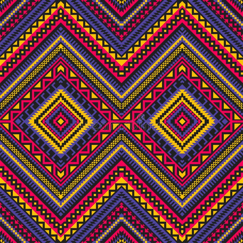 Modèle ethnique sans couture avec l'ornement géométrique illustration stock