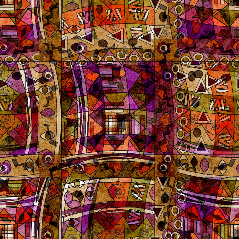 Modèle ethnique sans couture avec le fond décoratif d'éléments illustration de vecteur