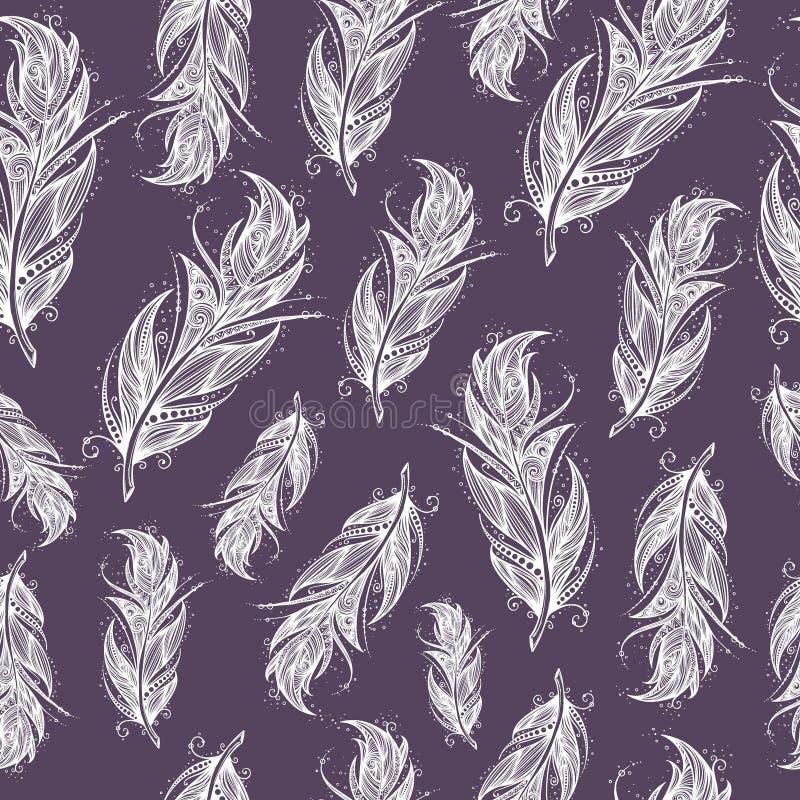 Modèle ethnique sans couture de belles plumes illustration libre de droits