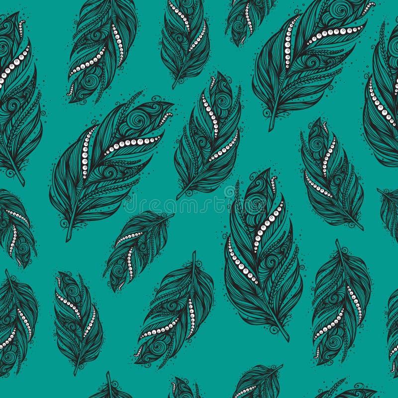Modèle ethnique sans couture de belles plumes illustration stock