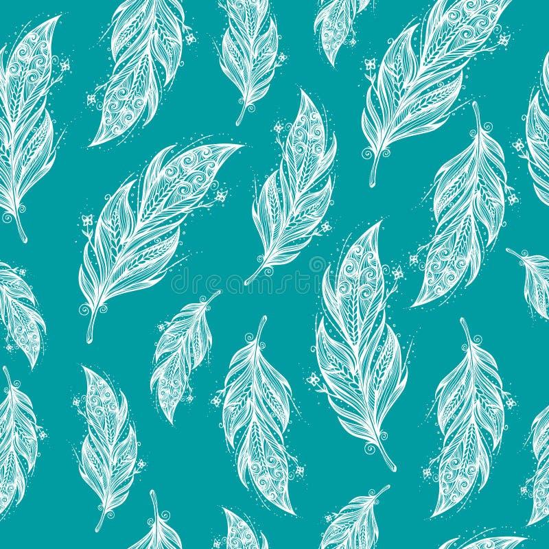 Modèle ethnique sans couture de belles plumes illustration de vecteur