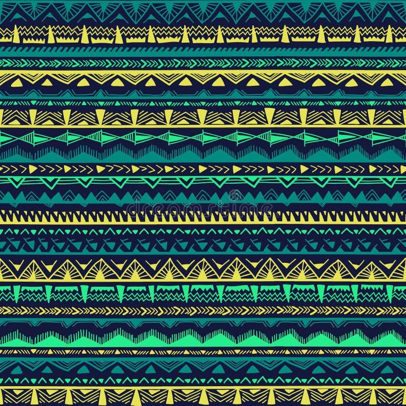 Modèle ethnique sans couture dessiné à la main EL géométrique multicolore illustration libre de droits