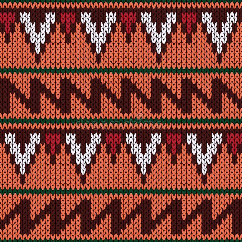 Modèle ethnique sans couture fleuri de tricotage avec la couleur géométrique illustration de vecteur