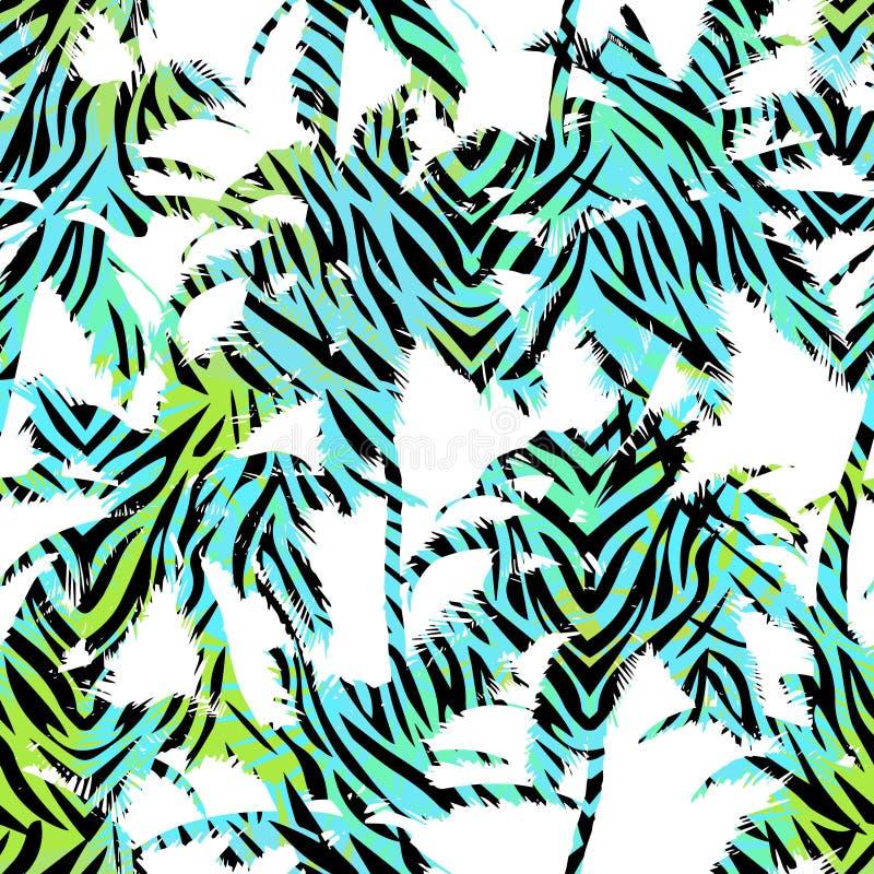 Modèle exotique sans couture à la mode avec des copies de paume et d'animal Conception abstraite moderne pour le papier, le papie illustration de vecteur
