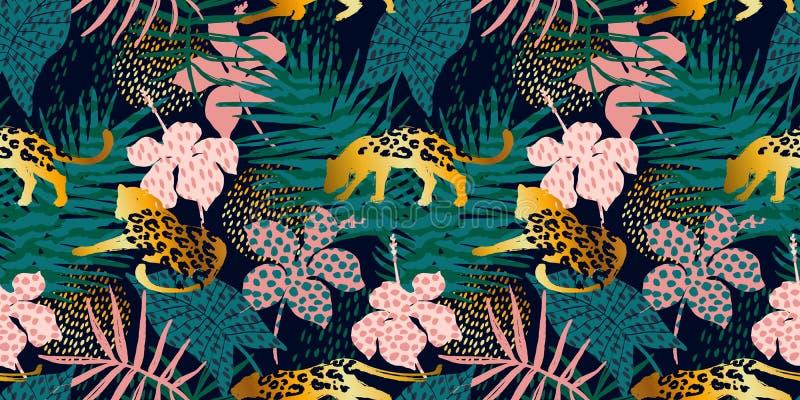 Modèle exotique sans couture à la mode avec la paume et les léopards illustration libre de droits