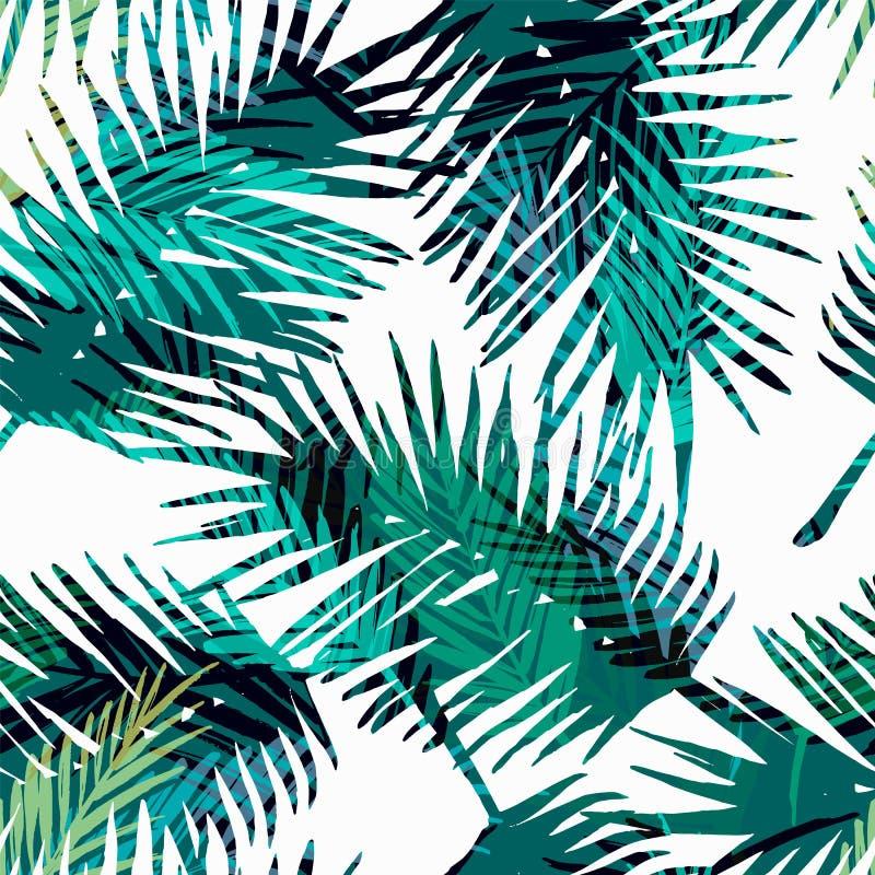 Modèle exotique sans couture avec les palmettes tropicales illustration stock