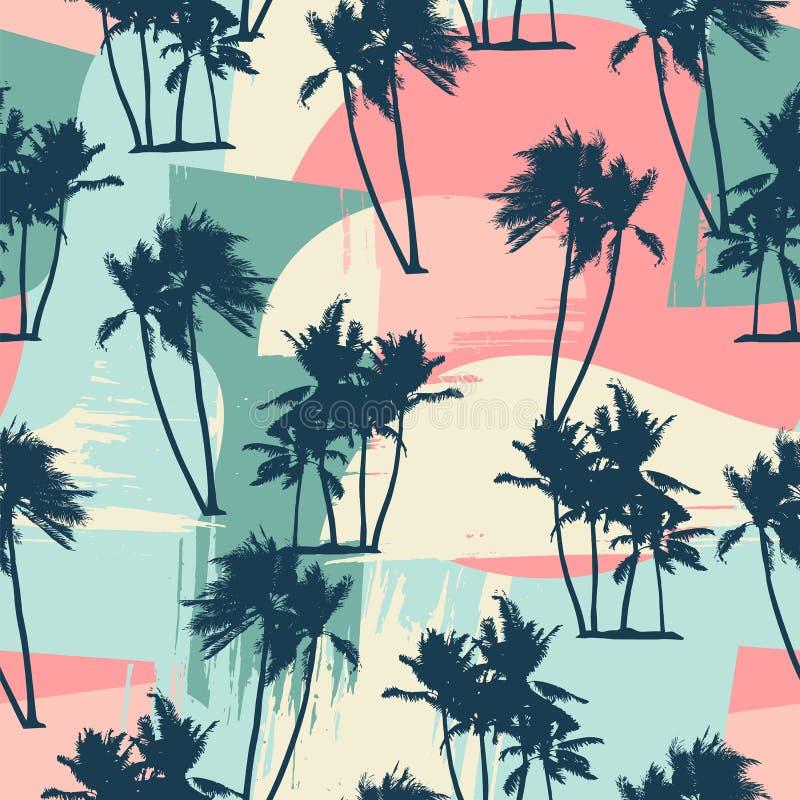 Modèle exotique sans couture avec les paumes tropicales et le fond artistique illustration stock