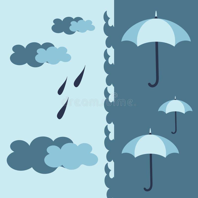 Modèle extérieur bleu avec des parapluies, des nuages et la pluie dans des couleurs douces fraîches de palette Tissu, papier pein illustration libre de droits