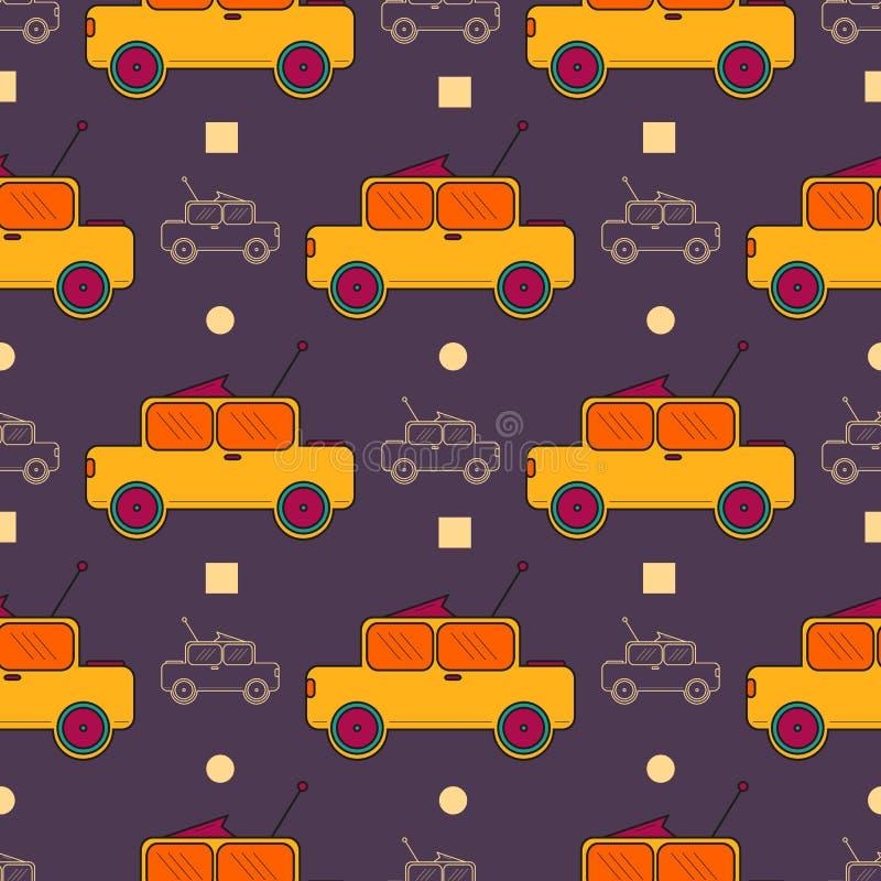 Modèle extérieur sans couture avec des voitures d'enfants illustration de vecteur