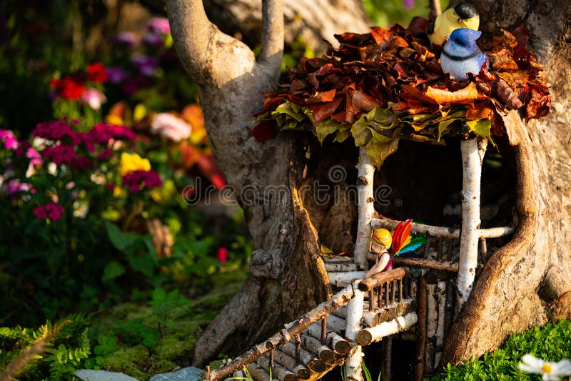 Modèle féerique de fleur dans une cabane dans un arbre image stock