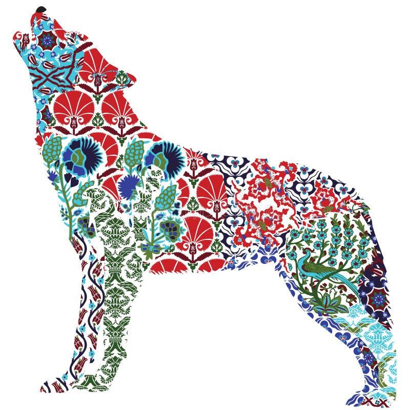 Modèle fleuri de loup illustration de vecteur