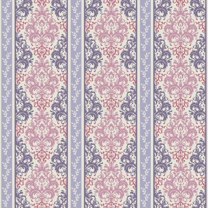 Modèle fleuri rayé sans couture abstrait Fond ornemental sans couture avec des rayures illustration stock