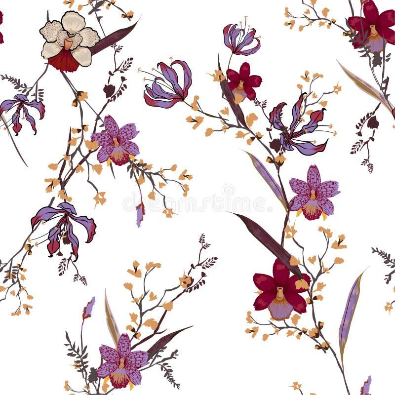 Modèle floral à la mode dans les nombreux genre de fleurs Bot tropical illustration de vecteur