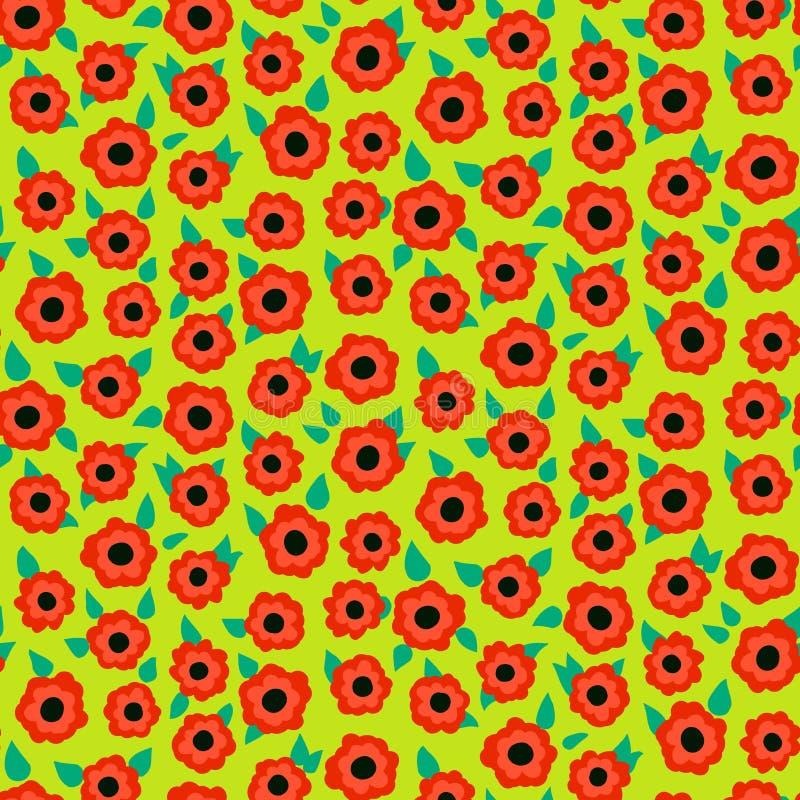 Modèle floral écervelé avec de petites roses rouges sur le vert illustration stock
